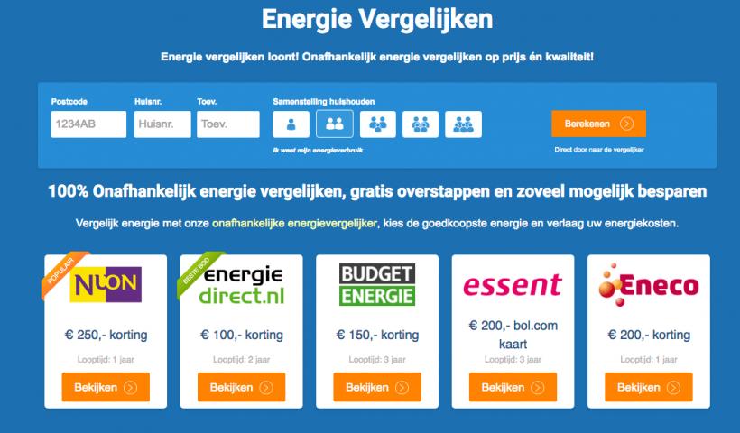 Energie vergelijken met cashback
